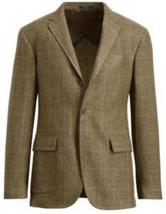Polo Ralph Lauren Tick-Weave Sport Coat Olive Multi W/Purple 40