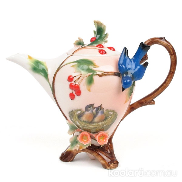 Gorgeous Mother and Baby Birds Teapot