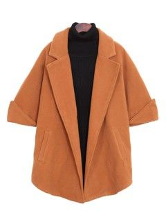 Shop Camel Woolen Coat With Half Sleeve from choies.com .Free shipping Worldwide.$55.79