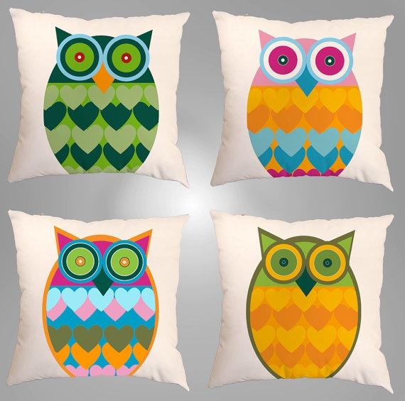 4 Fundas de Cojín 24x24 cm Estilo Traveler Owl por Sutil en Etsy, $39.00