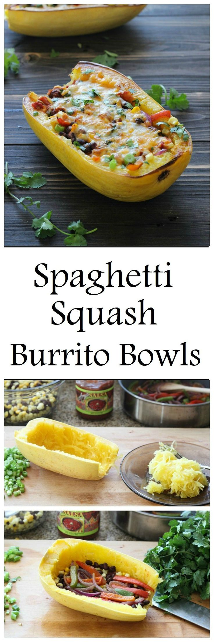 Spaghetti Squash Burrito Bowls- a healthy meal that's easy and delicious! #lowcarb #cleaneating