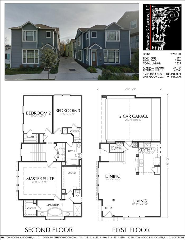 Two Story House Plan E0230 U1 Condo Floor Plans Two Story House Plans Town House Floor Plan