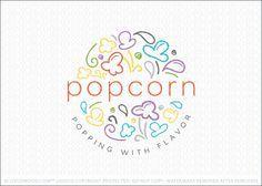 Logo for sale: Modern, fun and colorful popcorn logo design for sale. The design…