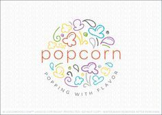 Logo for sale: Modern, fun and colorful popcorn logo design for sale. The design features abstract line drawn popcorns, kernels, swirls and flavor drops that are combined together to create a bursting pattern, which create a circular design.