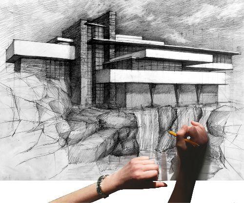 Architectural drawing from: http://www.kurs-rysunku.com/ MDK-Kurs rysunku Kraków