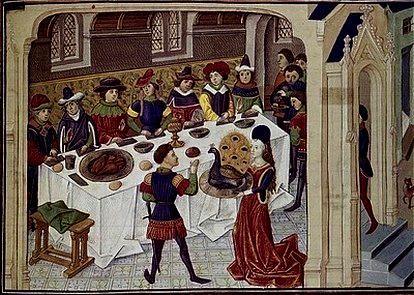 """le Banquet du Vœu du Faisan, commencé par des fêtes populaires et des joutes, connaît son apothéose lors du banquet offert par Philippe le Bon à ses nobles. Au milieu du repas, entre divers entremets : jeux et représentations, Philippe le Bon prononce un vœu sur un faisan qu'on lui présente sur un plat : """" libérer la Terre Sainte du joug des Turcs """", vœu qu'il demandera que ses vassaux prononcent aussi, oralement à sa suite et par écrit pour les jours suivants."""