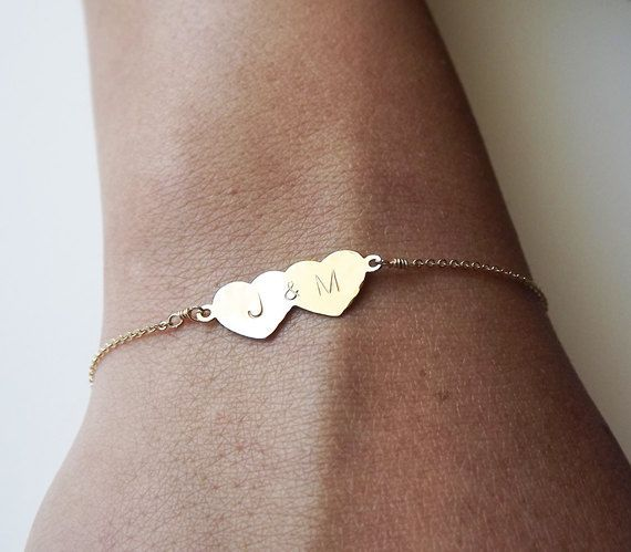 Gold Double Heart Bracelet Personalized by BellatrinaJewelry