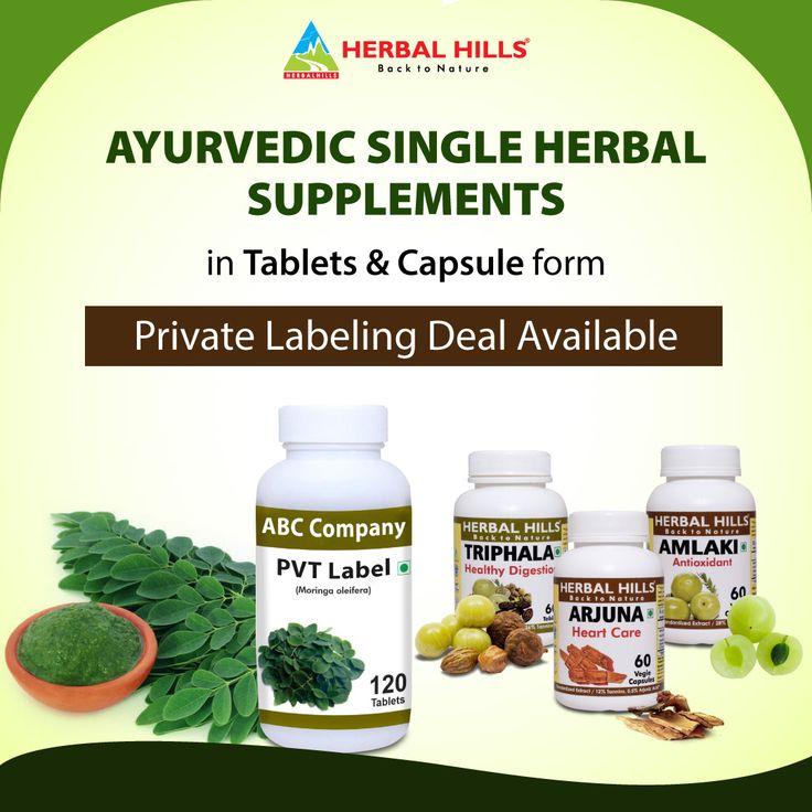 Ayurvedic single herbal supplements in tablets capsule