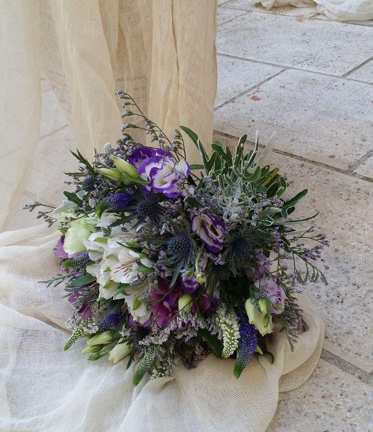 Rustic purple bride bouquet wedding lisisanthus, limonium, veronica, thistle for Anthi by Gouritoti Flowers
