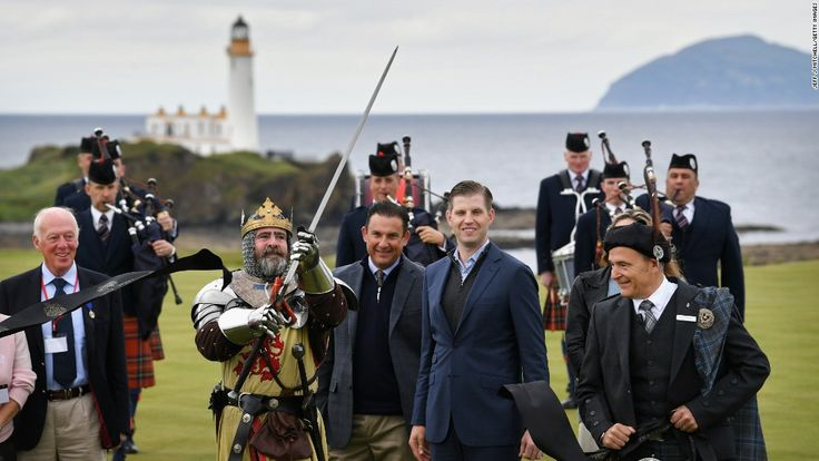 "Donald Trump's son Eric opens new ""King Robert the Bruce"" golf course at the Trump Turnberry golf resort in South Ayrshire, Scotland."