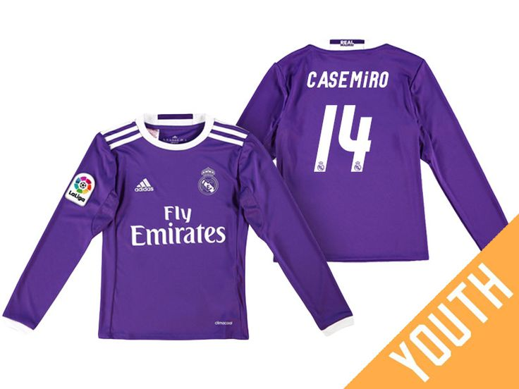 Real Madrid #14 Casemiro 2016-17 Road Youth Long Jersey
