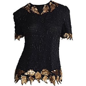 Preowned Beautiful Vintage Black + Gold Silk Beaded Scalloped Sequin Blouse Top