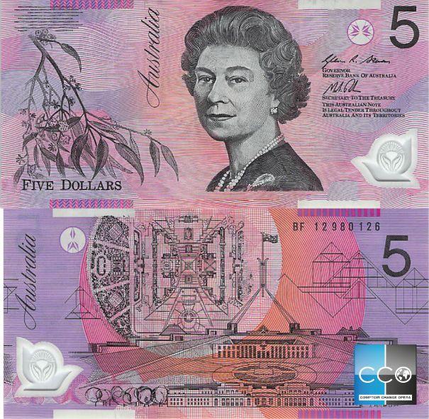 Sur ce billet de 5 $ figurent sa Majesté la Reine Elizabeth II et le Parlement australien (Parliament House) de Canberra, la capitale de l'Australie.