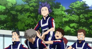 Boku No Hero Academia S2E2 Review: Let The Hunger Games Begin  Everyone in the entire school came to the Hero Class to see if they could get a sneak peak at what Bakugo and his classmates were doing. Bakugo was right all these extras need to keep it moving because if you're not in the Hero course you have no chance at beating them unless you've honed your Quirk. Also they were all just lame except for two people in Class B. The kid that looks like Michael Myers and the one the with eczema…