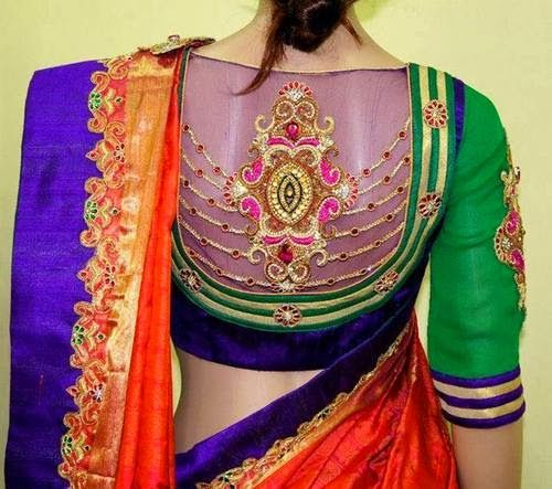 High Neck Net Blouse | Saree Blouse Patterns