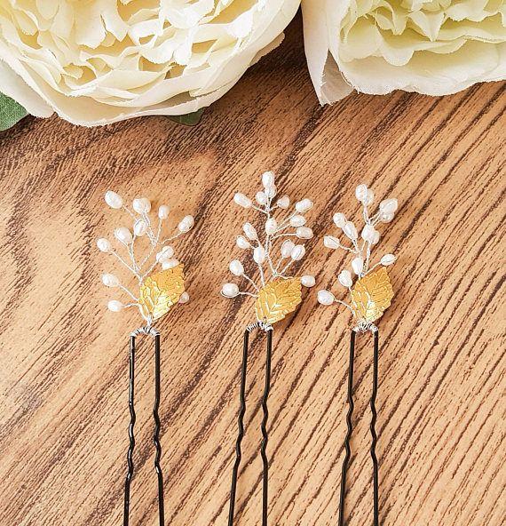 Bridal hair pins, pearl bobby pins, freshwater pearl pin, pearl hair pin, bridal up do, leaf hair pins, chignon hair pins, wedding bobby pin
