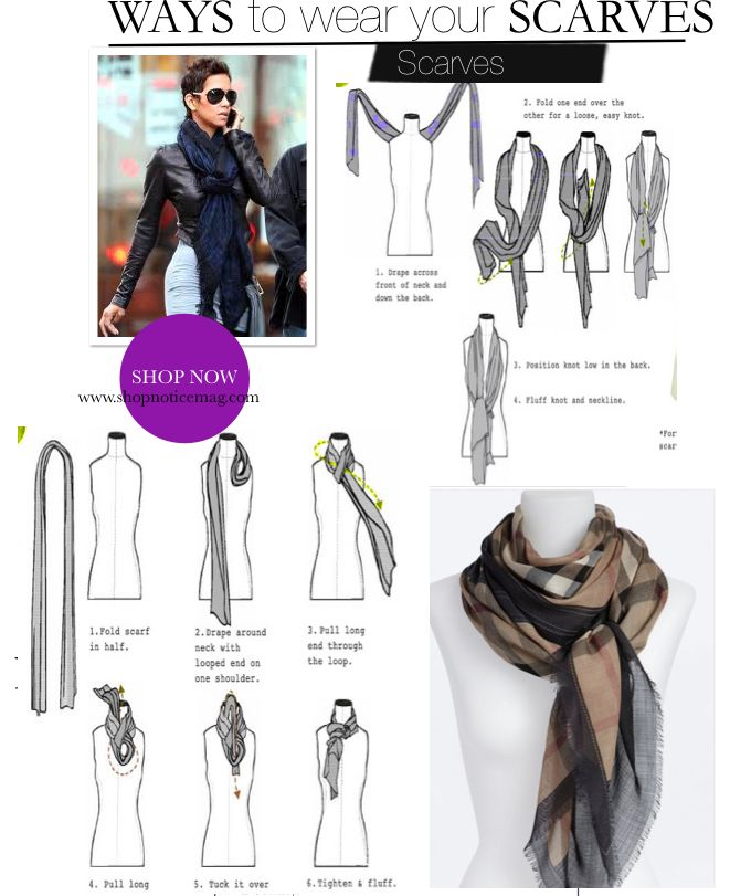 Inspired by the style of Halle Berry. Here are our Top 6 picks for how to wear a scarf this season. Shop current trends in scarves at Shop Notice Magazine. Here!