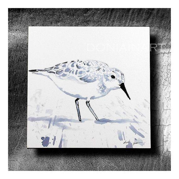 Original Art, Sandpiper, Bird Painting, Wine Painting, Sand Piper, Mixed Media Art, Semi Abstract, Bird Art, Ink Painting, Ocean Art