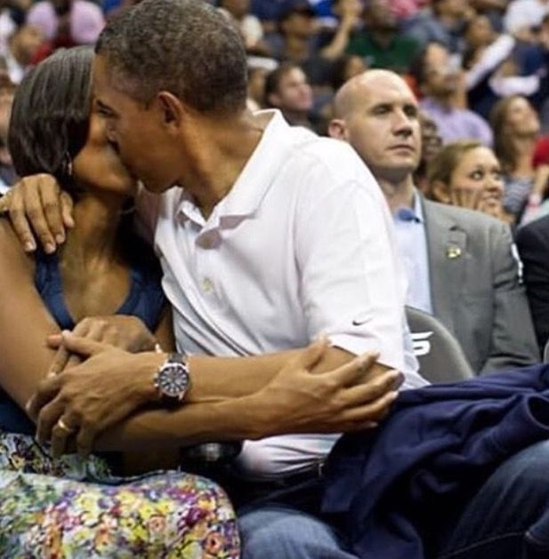 "#44th #President Of The United States  #BarackObama & #FirstLady Of The United States  #MichelleObama Barack Obama kisses Michelle Obama for the ""Kiss Cam"" while attending the U.S. Men's Olympic basketball team's game against Brazil at the Verizon Center in Washington, on July 16, 2012."