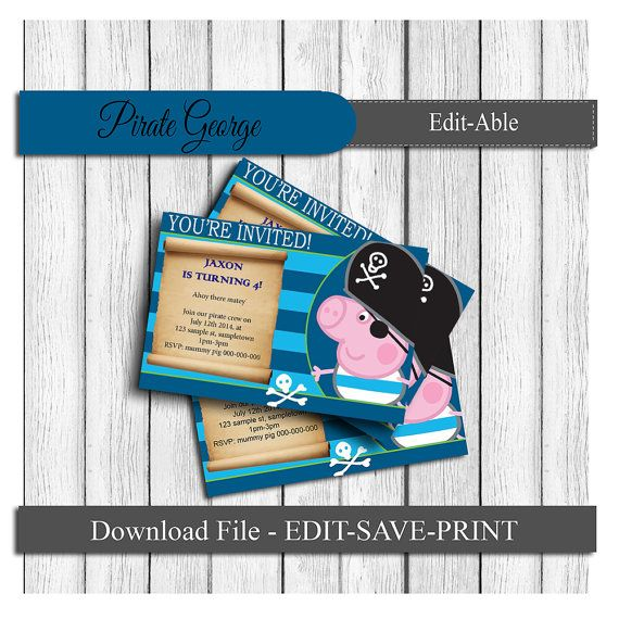 George pirate pig party invitations (peppa pig) - INSTANT DOWNLOAD FILE - Edit & Print yourself!
