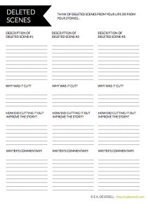 Writing worksheet: If your life were a film, what would be a few of its deleted scenes?