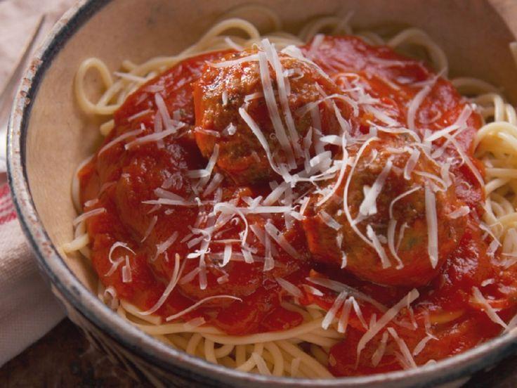 Spaghetti and Lamb Meatballs recipe from Nancy Fuller via Food Network