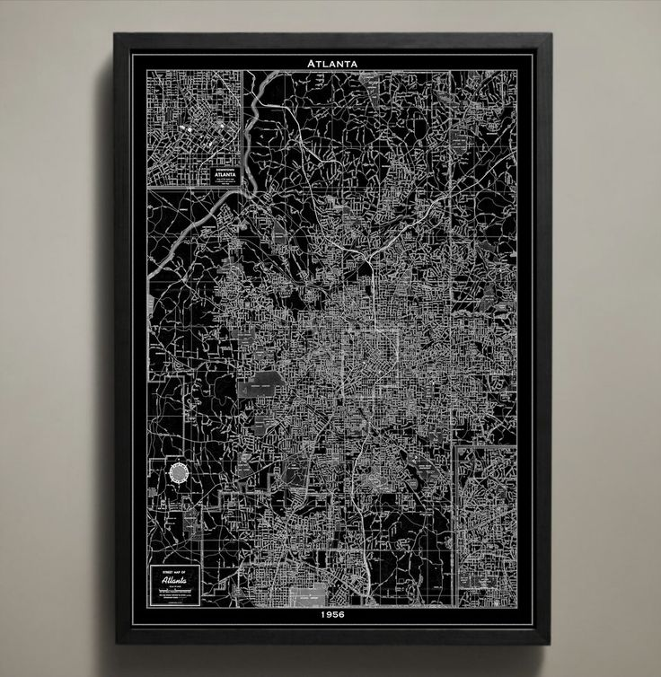 Atlanta is captured in our 1956 map print poster just before the Civil Rights Movement called Atlanta a hub for its organization. Its streets are nothing like the blocks of Manhattan, making for an interesting winding pattern made distinct by both the black and white Atlanta map print poster versions. #atlanta-map-print
