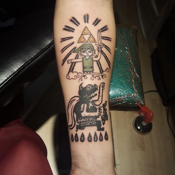 """A linoleum print of Link and the Triforce: 