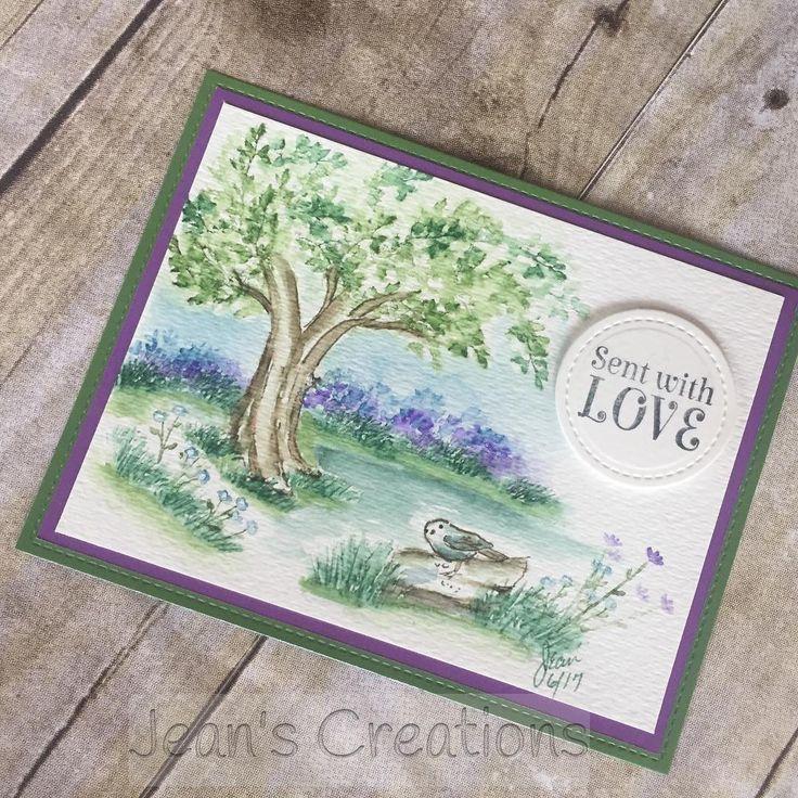 Art Impressions Watercolor handmade card. water, tree, bird, flowers, foliage