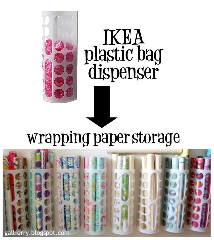 Ikea plastic bag dispenser for your wrapping paper storage. Great thing, they are only $1.99 ea.