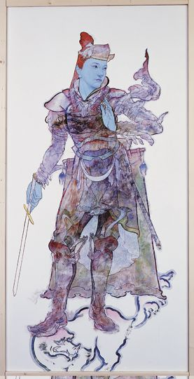 "excellent conception of discribing this as a female, instead of drawing traditionally in male.  ""Jikokuten"", one of Four Heavenly Kings.  By Yamaguchi, Akira"