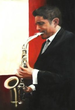 "Dave Koz (9-time Grammy nominated)  A portrait from the series of musicians I am painting in collaboration with Scott Bradlee Peostmodern Jukebox $985. USD     17.5"" x 11.5""  oil on panel  Artist signed prints also available $85. +s/h"