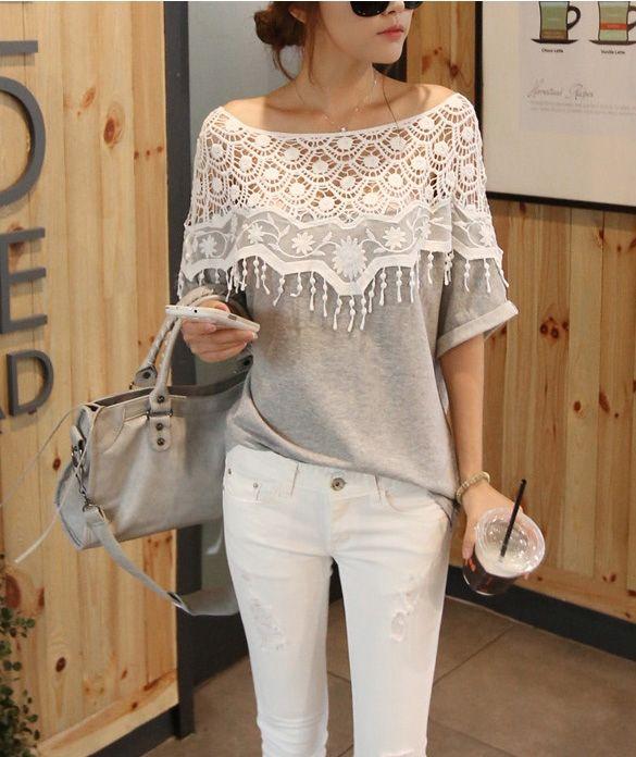 Cute Lace T-shirt Buy Here: http://www.wholesalebuying.com/product/lace-cutout-shirt-women-handmade-crochet-cape-collar-batwing-sleeve-t-shirt-24422?utm_source=pin&utm_medium=cpc&utm_campaign=ZYWB4