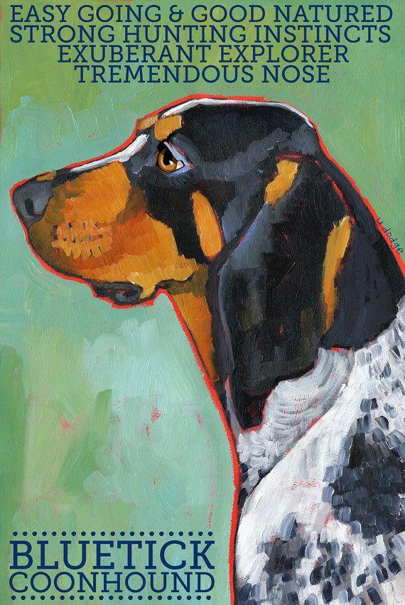 "Coonhound No. 2 - Bluetick 8.5x11"" Art Print. $20.00, via Etsy."