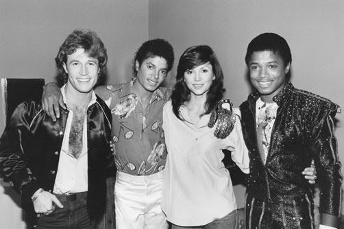 MJ, brother Randy, singer Andy Gibb and actress Victoria Principal backstage during the Triumph Tour at Madison Square Garden, New York city August 18 1981