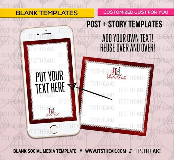 Premade Blank IG Post + IG Story – Add Your Own Text – Social Media Templates Social Media Frames Ha