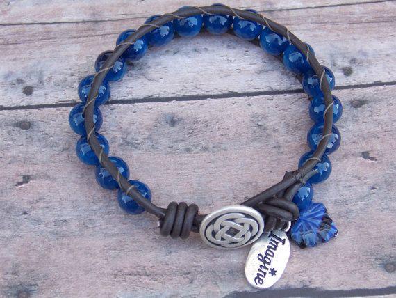 Midnight Sky boho leather wrap bracelet, shabby chic, sundance via Etsy