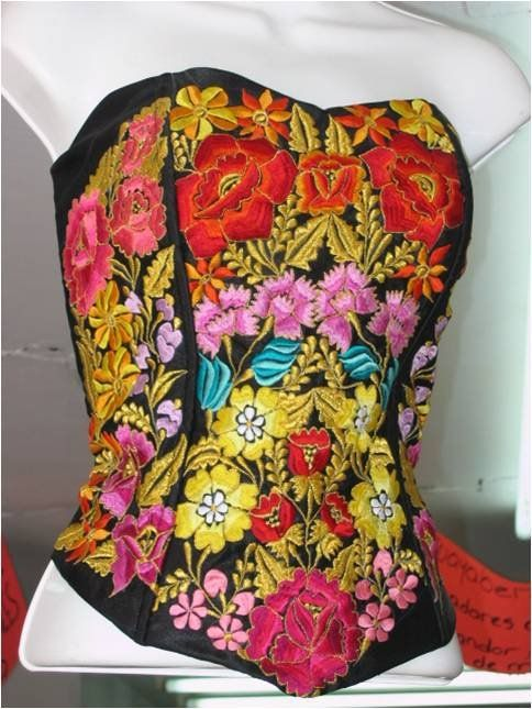 Mexican fashion corset embroidered blouses pinterest
