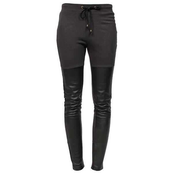 RAGDOLL LA Leather Leggings Faded Black ($320) ❤ liked on Polyvore featuring pants, leggings, bottoms, jeans, pantaloni, leather leggings, stretchy leggings, black leather pants, skinny pants and stretch leather pants