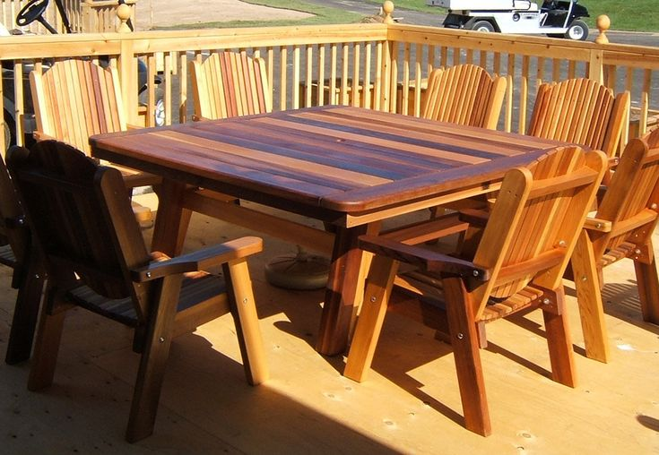 Cedar table and chairs by Flamborough Patio