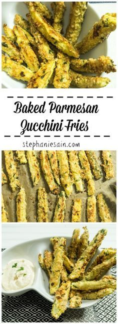 Baked Parmesan Zucchini Fries are a tasty, healthier fry with less than five ingredients. Perfect as a side or appetizer. Gluten Free & Vegetarian.
