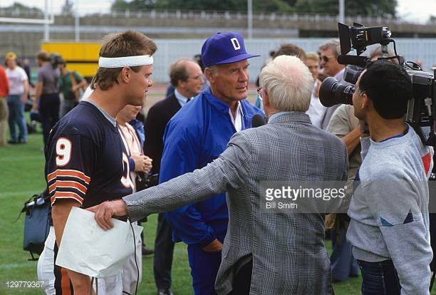 American Bowl Dallas Cowboys coach Tom Landry with Chicago Bears QB Jim McMahon during interview with British press before practice session at...