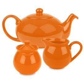 Features: -Set includes teapot with lid, creamer and sugar. -Fun Factory collection. -Material: High fired ceramic earthenware. -Dishwasher safe. -Not recommended for microwave and oven use. -Mi
