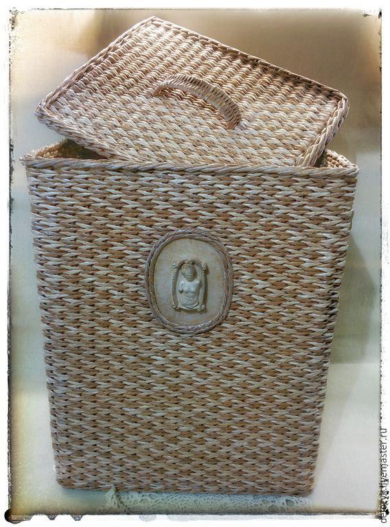 """Купить Короб с крышкой """"Эллада"""" - коричневый, античный стиль, короб для хранения, плетеная корзина"""
