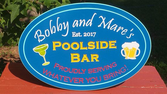 Custom Outdoor Poolside Bar Sign Personalized PVC Board