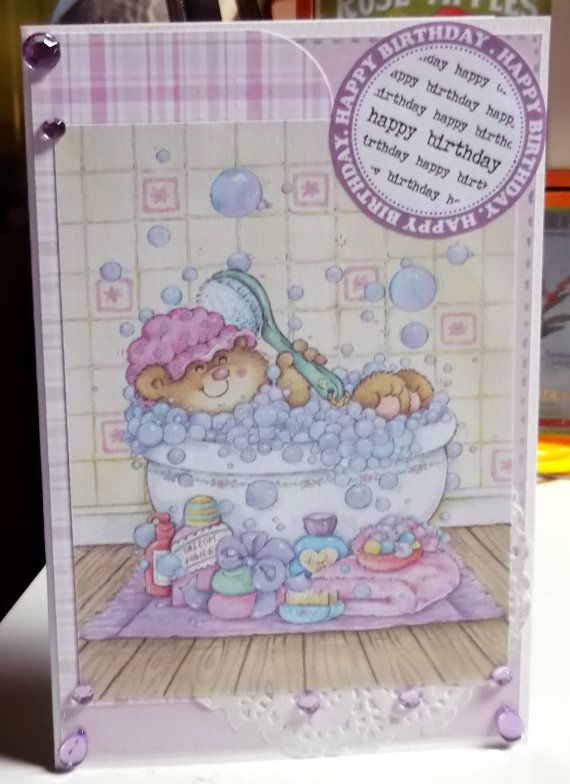 Happy birthday card  bear in the bathtub  bubbles by StardustPaper, $5.00