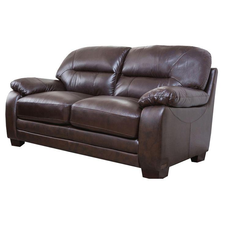 hemsworth leather loveseat abbyson living brown