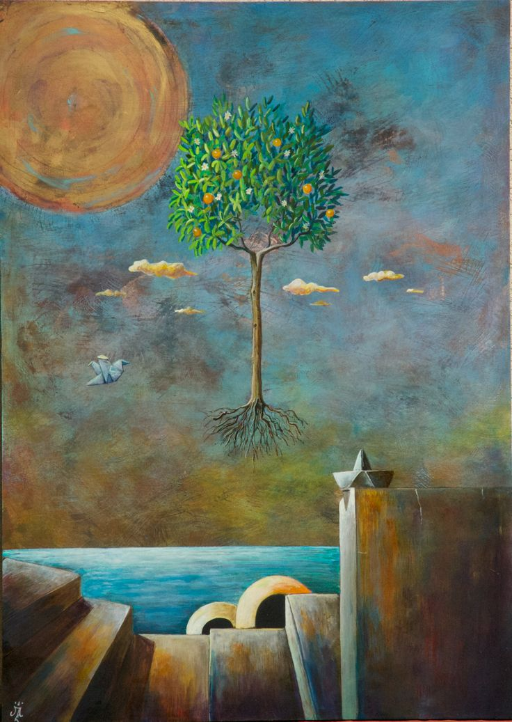 Orange Tree Acrylic & Oil On wood © Al Mazzaglia 2013