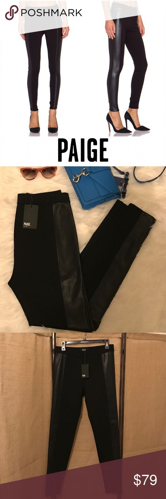 NWT Paige Tuesday Pant This pair of leggings are sooo cute!😍. They are a nice thick material as the base and on the sides of each leg have a wide stripe of vegan leather. For someone like me🙋with not perfect legs, this gives you the leather legging look that is much more flattering and forgiving. 👏👏👏 Paige Jeans Pants Leggings