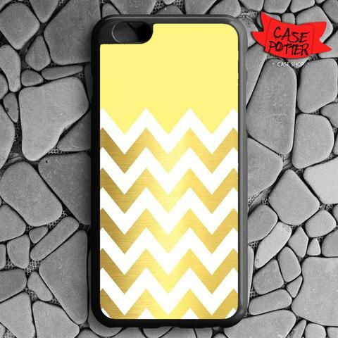 Yellow White Chevron Gold iPhone 6 Plus iPhone 6S Plus Black Case